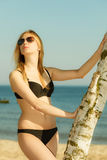 Woman wearing black bikini posing next to tree. Summertime underwear, summer clothes concept. Woman wearing black bikini posing next to tree, relaxing on beach Royalty Free Stock Images