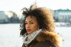 Woman Wearing Black and Brown Coat Stock Photography