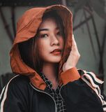 Woman Wearing Black, Brown, and White Hooded Jacket Royalty Free Stock Image