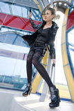 Woman wearing black clothes Stock Image