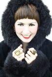 Woman wearing black coat Stock Photography