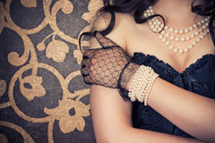 Woman wearing black corset Royalty Free Stock Photos