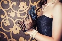 Woman wearing black corset Stock Photo