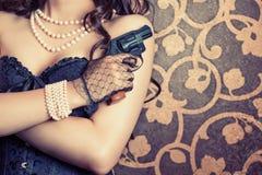 Woman wearing black corset Royalty Free Stock Photos