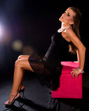 Woman wearing black dress. Royalty Free Stock Image