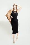 Woman Wearing Black Dress Stock Photo