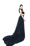 Woman wearing black evening dress Stock Photography