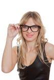 Woman wearing black generic glasses. Happy woman wearing black generic glasses stock photo