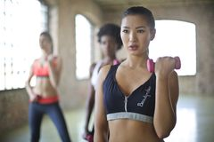 Woman Wearing Black and Gray Sport Bra Royalty Free Stock Image