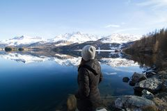 Woman Wearing Black Hooded Jacket Watching Mountain Royalty Free Stock Photo