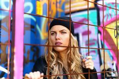 Woman Wearing Black Knit Cap With Black Jacket Royalty Free Stock Photos