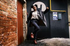 Woman Wearing Black Leather Jacket Stock Photography