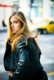 Woman Wearing Black Leather Jacket Facing Backward Royalty Free Stock Photo