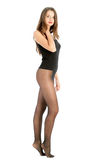 Woman wearing black pantyhose Stock Photos