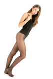 Woman wearing black pantyhose Stock Photography
