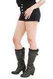 Woman wearing black shorts Stock Photos