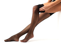 Woman wearing black stockings Royalty Free Stock Image