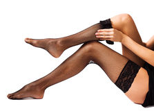 Woman wearing black stockings Stock Images