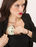 Woman Wearing Black Stuffs Twenties Bills Money Cash Bra Stock Photos