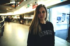 Woman Wearing Black Supreme Sweater stock photo
