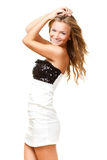 Woman wearing black and white dress Stock Images