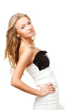 Woman wearing black and white dress Royalty Free Stock Image