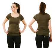 Woman wearing blank olive green shirt Stock Photo