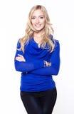 Woman wearing blue blouse. Beautiful woman wearing blue blouse royalty free stock photo