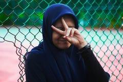 Woman Wearing Blue Hijab Stock Photography