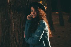 Woman Wearing Blue Jacket Royalty Free Stock Photo