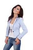 Woman wearing blue jacket. Sexy woman wearing blue jacket against white background Stock Image