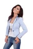 Woman wearing blue jacket Stock Image