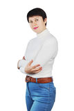 Woman Wearing Blue Jeans And White Turtleneck Stock Photo