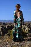 Woman Wearing Blue and Multicolored Floral Backless Long-sleeved Dress Standing in Front of Rock Formation royalty free stock image