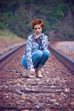 Woman Wearing Blue on Train Track during Daytime Royalty Free Stock Photos