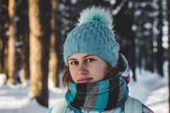 Woman Wearing Blur Sweater Set Stock Photography