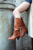 Woman wearing boots. Woman wearing brown leather boots Royalty Free Stock Photo