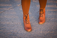 Woman wearing boots Royalty Free Stock Image