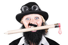 Woman Wearing Bowler Hat Holding A Pencil In Mouth Royalty Free Stock Photography