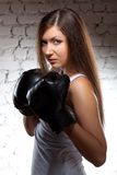 Woman wearing boxer gloves Royalty Free Stock Images
