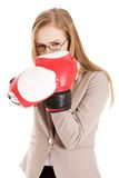 Woman wearing boxer gloves Stock Photo