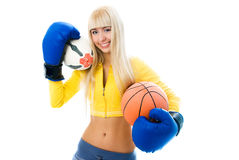 Woman wearing boxing gloves Royalty Free Stock Image