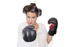 Woman wearing boxing gloves learning self defense Royalty Free Stock Photo