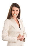 Woman wearing bright suit Stock Photo