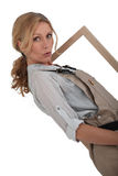 Woman wearing brown overalls Royalty Free Stock Photo