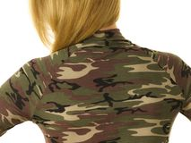 Woman wearing camo moro top. Close up of unrecognizable woman wearing moro camo military camouflage top, detail of pattern stock photography