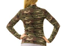 Woman wearing camo moro top. Close up of unrecognizable woman wearing moro camo military camouflage top, detail of pattern stock image