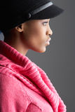 Woman Wearing Cap And Knitwear In Studio Stock Photos