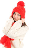Woman wearing cap and scarf Royalty Free Stock Photo