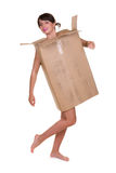 Woman wearing cardboard box Stock Photo